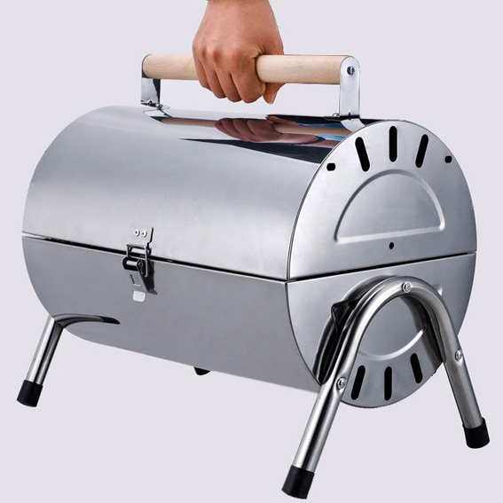 Portable Stainless Steel Barrel Charcoal Wood BBQ Barbecue. N/A